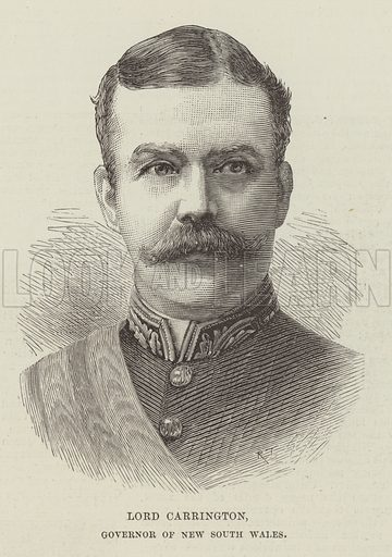 Lord Carrington, Governor of New South Wales. Illustration for The Illustrated London News, 22 September 1888.