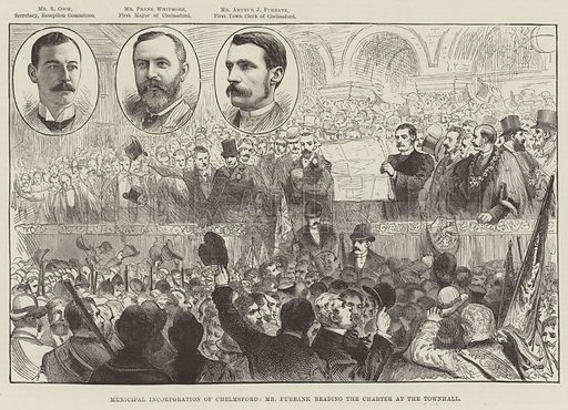 Municipal Incorporation of Chelmsford, Mr Furbank reading the Charter at the Townhall. Illustration for The Illustrated London News, 29 September 1888.