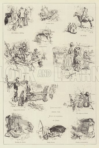 Sketches among the Hop-Pickers in Kent. Illustration for The Illustrated London News, 6 October 1888.