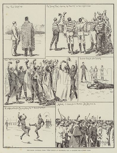 The Maori Football Team, First Match at Richmond, 3 October, against the Surrey Club. Illustration for The Illustrated London News, 13 October 1888.