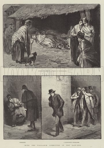 With the Vigilance Committee in the East-End. Illustration for The Illustrated London News, 13 October 1888.