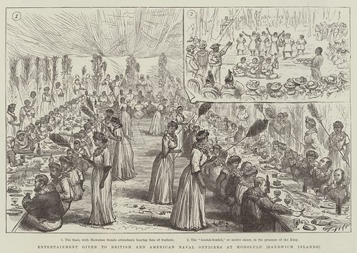 Entertainment given to British and American Naval Officers at Honolulu (Sandwich Islands). Illustration for The Illustrated London News, 27 October 1888.