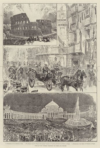 Visit of the German Emperor to Rome and Naples. Illustration for The Illustrated London News, 3 November 1888.