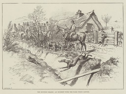 The Hunting Season, an Incident with the Ward Union Hounds. Illustration for The Illustrated London News, 17 November 1888.