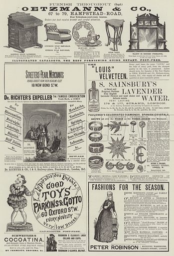 Page of Advertisements. Illustration for The Illustrated London News, 24 November 1888.
