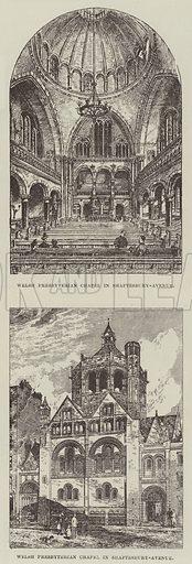 New Welsh Presbyterian Chapel. Illustration for The Illustrated London News, 1 December 1888.