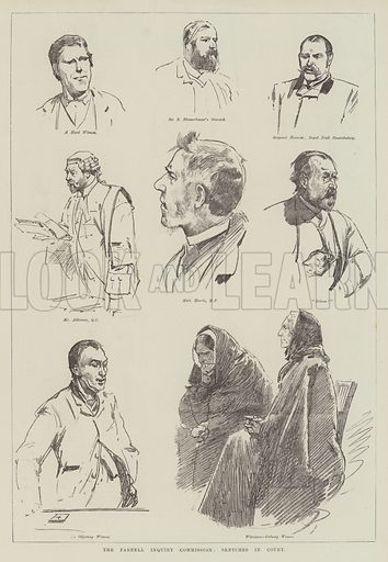 The Parnell Inquiry Commission, Sketches in Court. Illustration for The Illustrated London News, 1 December 1888.