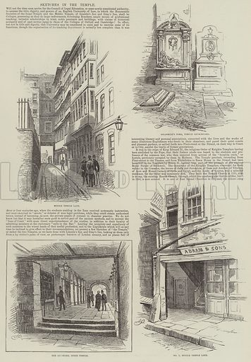 Sketches in the Temple. Illustration for The Illustrated London News, 1 December 1888.