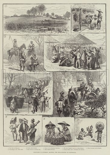 Sketches in Burmah, Maymyo, the Hill-Station of Mandalay. Illustration for The Illustrated London News, 8 December 1888.