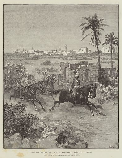 Cavalry going out on a Reconnaissance at Suakin. Illustration for The Illustrated London News, 29 December 1888.
