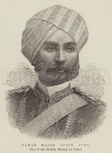Nawab Major Afsur Jung, One of the British Mission to Cabul. Illustration for The Illustrated London News, 29 December 1888.