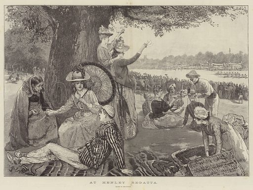 At Henley Regatta. Illustration for The Illustrated London News, 7 July 1888.