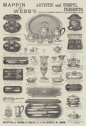 Advertisement, Mappin and Webb. Illustration for The Illustrated London News, 14 December 1889.