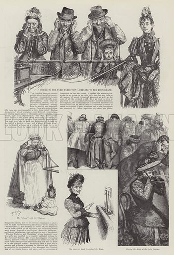 Visitors to the Paris Exhibition listening to the Phonograph. Illustration for The Illustrated London News, 26 October 1889.