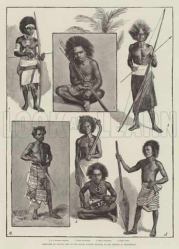 Sketches of Native Life in the South Pacific Islands. Illustration for The Illustrated London News, 23 August 1890.