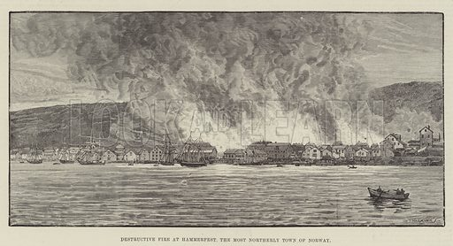 Destructive Fire at Hammerfest, the Most Northerly Town of Norway. Illustration for The Illustrated London News, 6 September 1890.