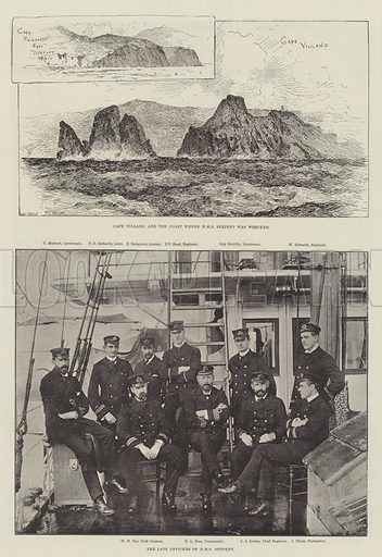 The Wreck of HMS Serpent. Illustration for The Illustrated London News, 22 November 1890.
