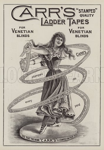 Advertisement, Carr's Ladder Tapes. Illustration for The Illustrated London News, 10 April 1897.