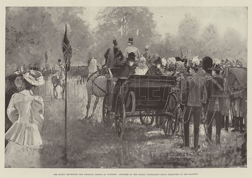 The Queen reviewing the Colonial Troops at Windsor, Officers of the Indian Contingent being presented to Her Majesty. Illustration for The Illustrated London News, 10 July 1897.