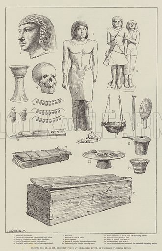 Objects 5500 Years Old, recently found at Deshasheh, Egypt, by Professor Flinders Petrie. Illustration for The Illustrated London News, 17 July 1897.