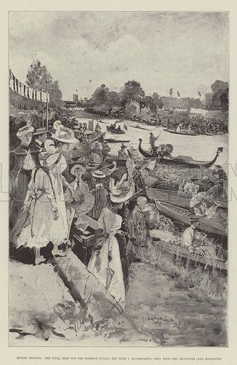 Henley Regatta, the Final Heat for the Diamond Sculls (Ten Eyck v Blackstaffe), seen from the Grosvenor Club Enclosure. Illustration for The Illustrated London News, 24 July 1897.