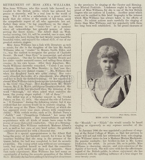 Miss Anna Williams. Illustration for The Illustrated London News, 9 October 1897.