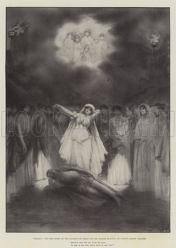 """""""Diarmid,"""" the New Opera by the Marquis of Lorne and Mr Hamish MacCunn, at Covent Garden Theatre. Illustration for The Illustrated London News, 30 October 1897."""