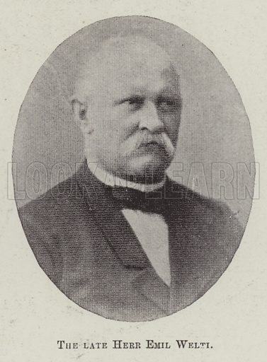 The late Herr Emil Welti. Illustration for The Illustrated London News, 11 March 1899.