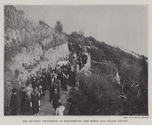 The Mystery Procession at Roquebrune, the Herod and Pilate Groups. Illustration for The Illustrated London News, 1 April 1899.