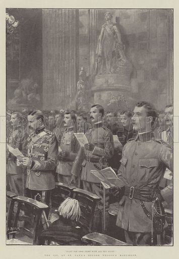The City Imperial Volunteers at St Paul's before Nelson's Monument. Illustration for The Illustrated London News, 20 January 1900.