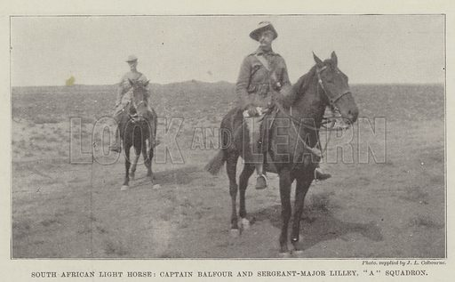"South African Light Horse, Captain Balfour and Sergeant-Major Lilley, ""A"" Squadron. Illustration for The Illustrated London News, 27 January 1900."