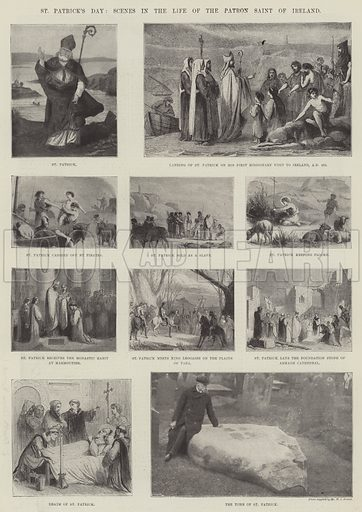 St Patrick's Day, Scenes in the Life of the Patron Saint of Ireland. Illustration for The Illustrated London News, 17 March 1900.