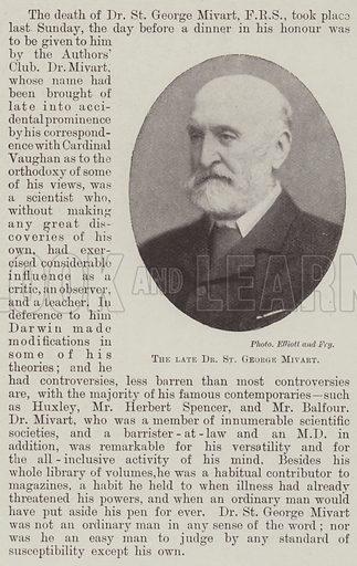 The late Dr St George Mivart. Illustration for The Illustrated London News, 7 April 1900.
