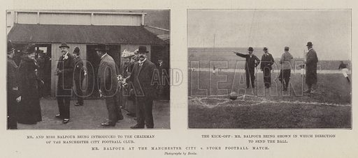Mr Balfour at the Manchester City v Stoke Football Match. Illustration for The Illustrated London News, 6 October 1900.