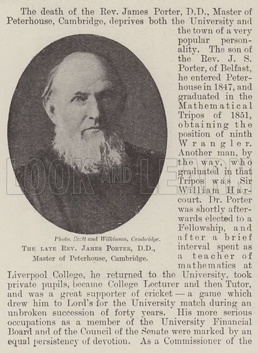 The late Reverend James Porter, DD, Master of Peterhouse, Cambridge. Illustration for The Illustrated London News, 13 October 1900.