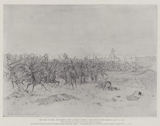 The Crisis in China, the Charge of the 1st Bengal Lancers in the Action outside Tientsin, 19 August 1900. Illustration for The Illustrated London News, 3 November 1900.