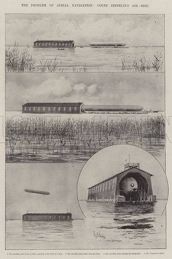 The Problem of Aerial Navigation, Count Zeppelin's Air-Ship. Illustration for The Illustrated London News, 21 July 1900.