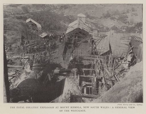 The Fatal Colliery Explosion at Mount Kembla, New South Wales, a General View of the Wreckage. Illustration for The Illustrated London News, 20 September 1902.
