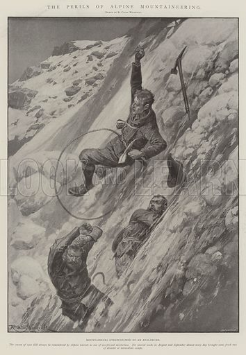 The Perils of Alpine Mountaineering, Mountaineers overwhelmed by an Avalanche. Illustration for The Illustrated London News, 4 October 1902.