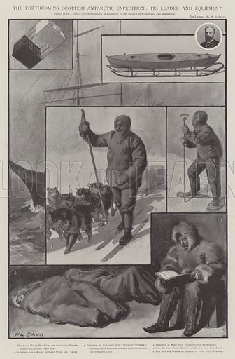 The Forthcoming Scottish Antarctic Expedition, its Leader and Equipment. Illustration for The Illustrated London News, 18 October 1902.