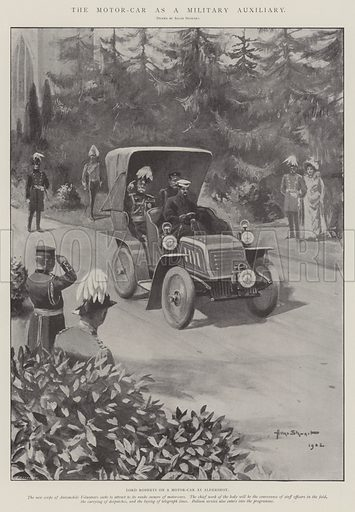 The Motor-Car as a Military Auxiliary, Lord Roberts on a Motor-Car at Aldershot. Illustration for The Illustrated London News, 18 October 1902.
