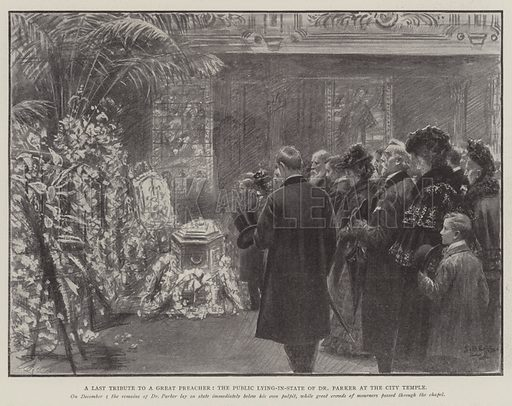 A Last Tribute to a Great Preacher, the Public Lying-in-State of Dr Parker at the City Temple. Illustration for The Illustrated London News, 6 December 1902.
