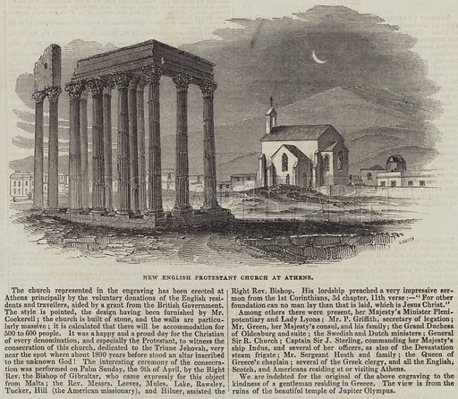 New English Protestant Church at Athens. Illustration for The Illustrated London News, 6 May 1843.
