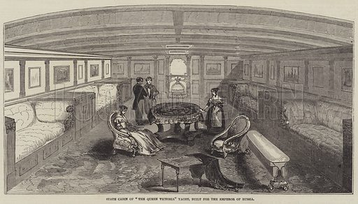 "State Cabin of ""The Queen Victoria"" Yacht, built for the Emperor of Russia. Illustration for The Illustrated London News, 29 August 1846."