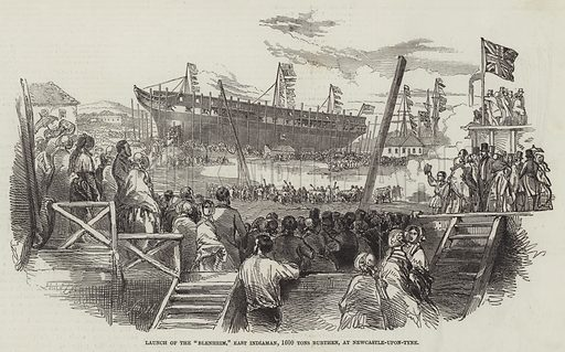 """Launch of the """"Blenheim,"""" East Indiaman, 1600 Tons Burthen, at Newcastle-upon-Tyne. Illustration for The Illustrated London News, 19 August 1848."""