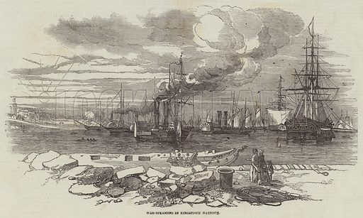 War-Steamers in Kingstown Harbour. Illustration for The Illustrated London News, 26 August 1848.