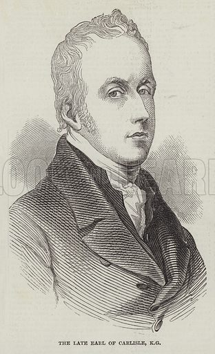 The late Earl of Carlisle, KG. Illustration for The Illustrated London News, 14 October 1848.