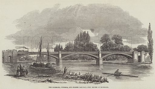 The Richmond, Windsor, and Staines Railway Bridge at Richmond. Illustration for The Illustrated London News, 21 October 1848.