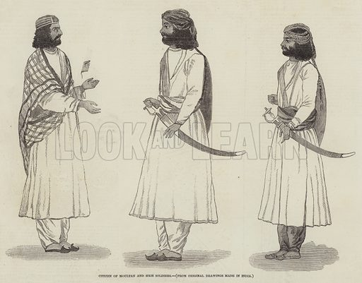Citizen of Moultan and Sikh Soldiers. Illustration for The Illustrated London News, 4 November 1848.