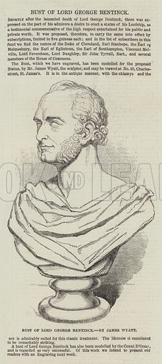 Bust of Lord George Bentinck, by James Wyatt. Illustration for The Illustrated London News, 11 November 1848.